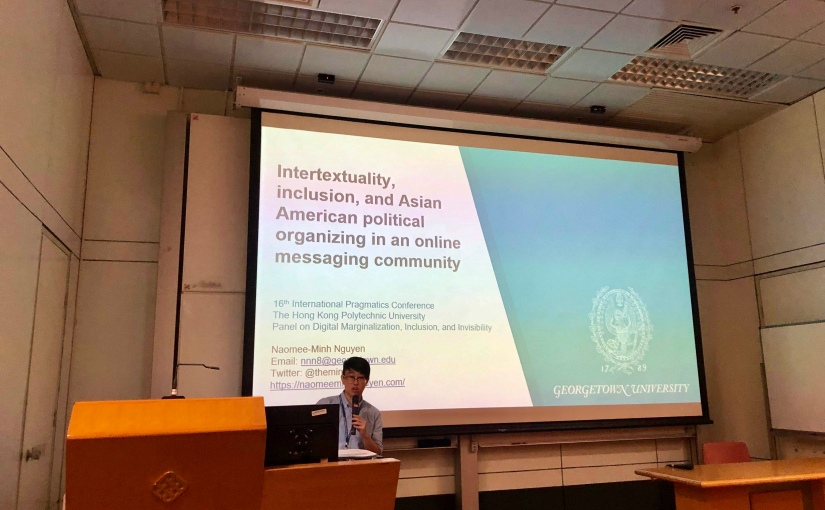 Minh presenting her research at the 16th International Pragmatics Conference